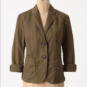 Anthropologie Cartonnier Piped Boy Blazer in Green